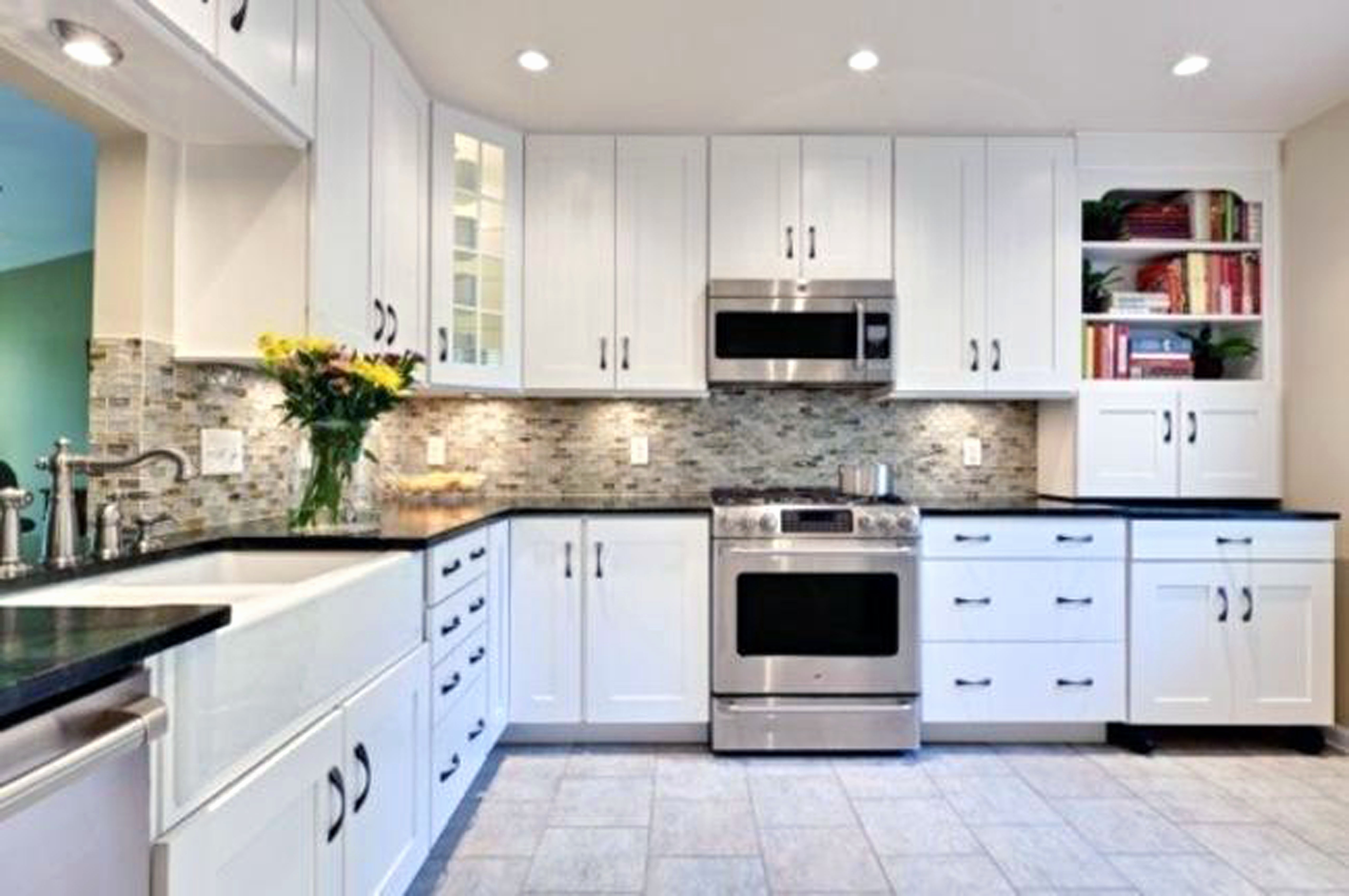 kitchen with white cabinets and black countertops ... kitchen backsplash ideas for white cabinets black countertops ... NQCPUWP