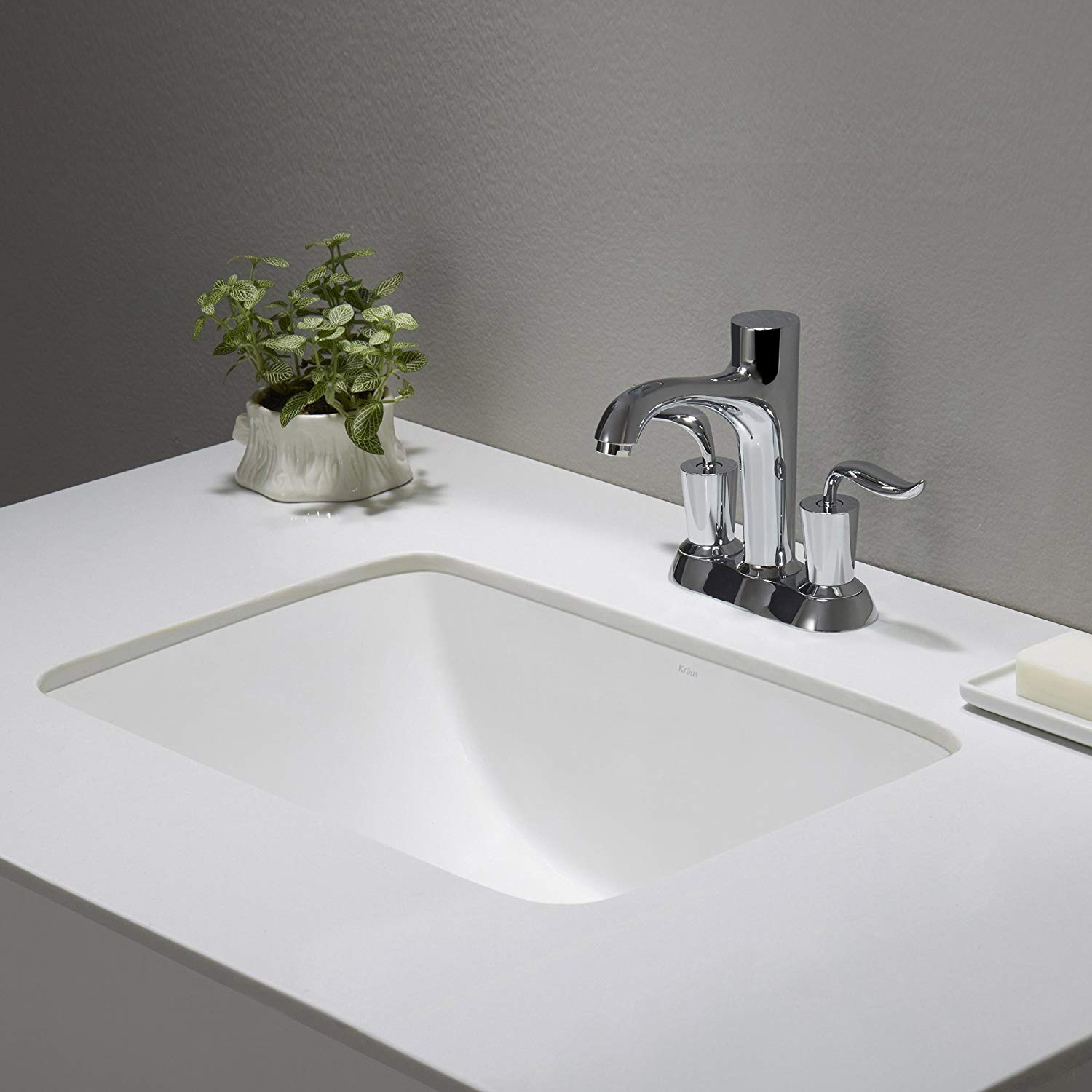 kraus kcu-241 elavo ceramic small rectangular undermount bathroom sink with FLOHZKZ