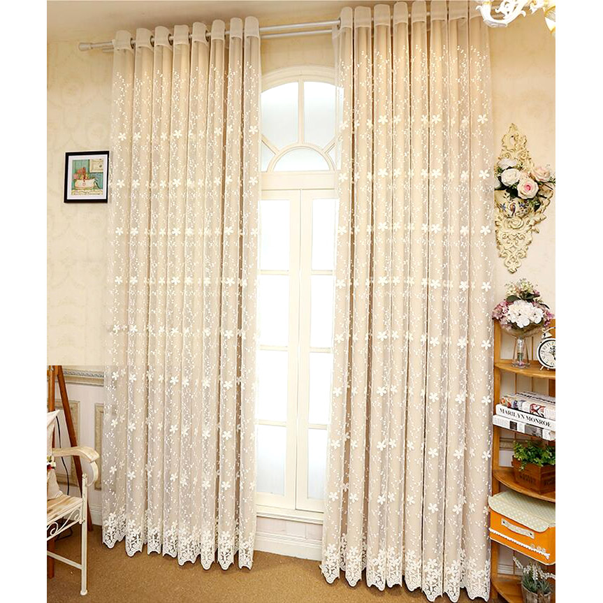 Lace Sheer Curtains beige lace sheer curtain with solid bedroom curtain JJVILBL