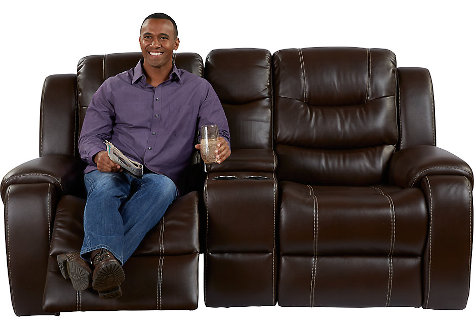 leather reclining loveseat with console baycliffe brown reclining console loveseat - loveseats (brown) JWQZLNT