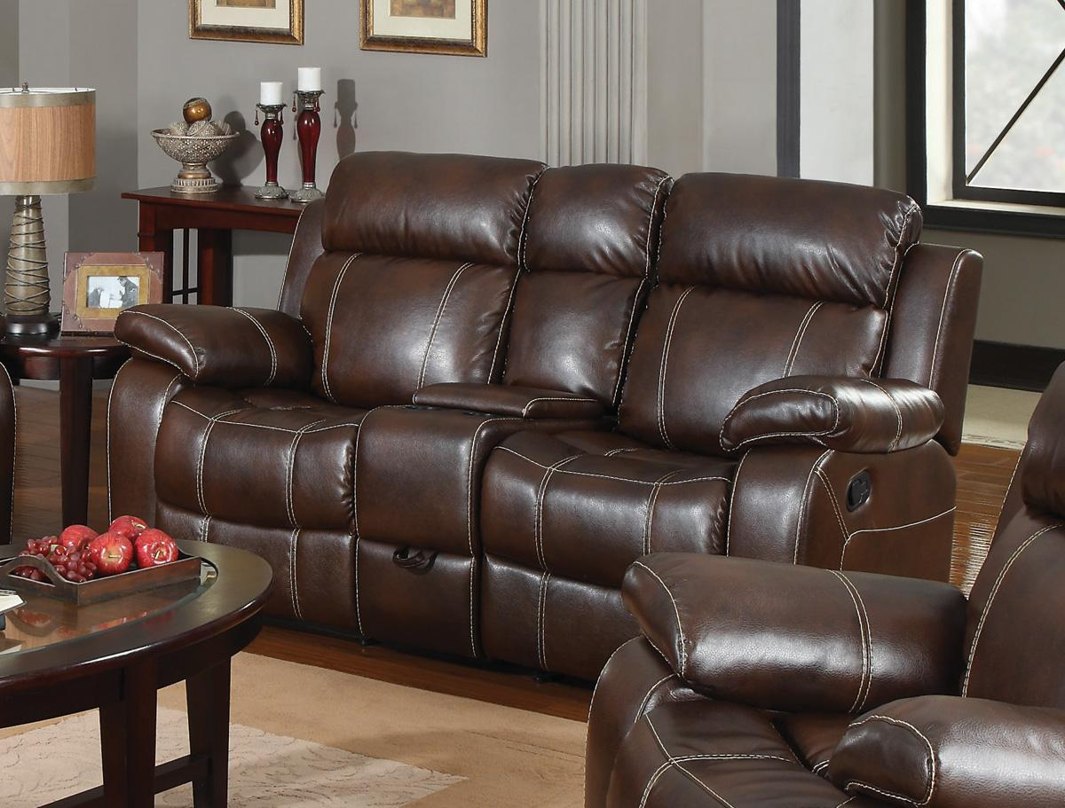 leather reclining loveseat with console dark brown grain leather loveseat with recliner and small console, BNKBZHC