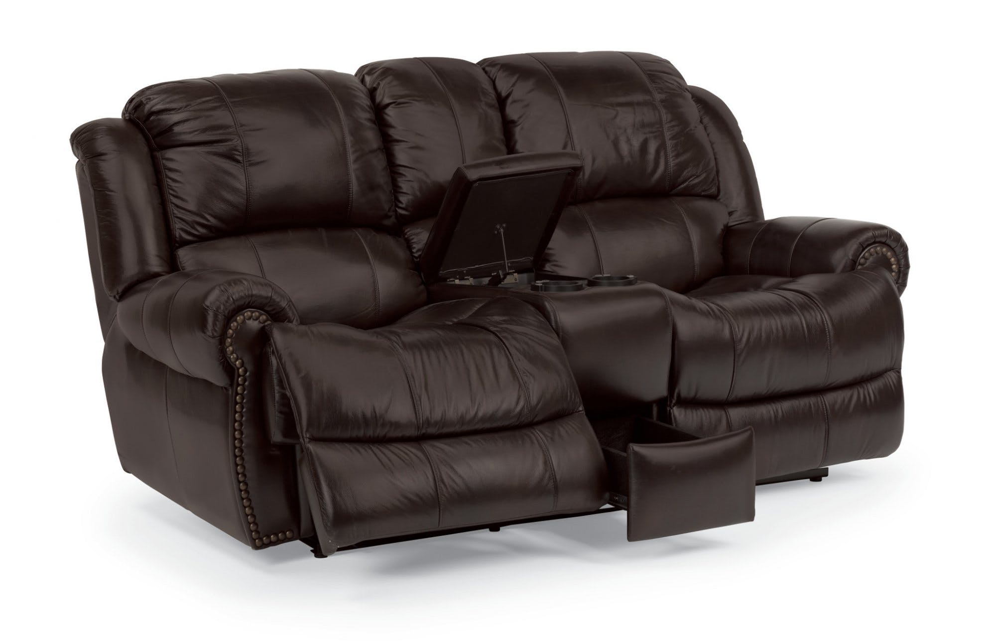 leather reclining loveseat with console ... flexsteel leather power reclining loveseat with console 1311-604p ... GAYHJKF