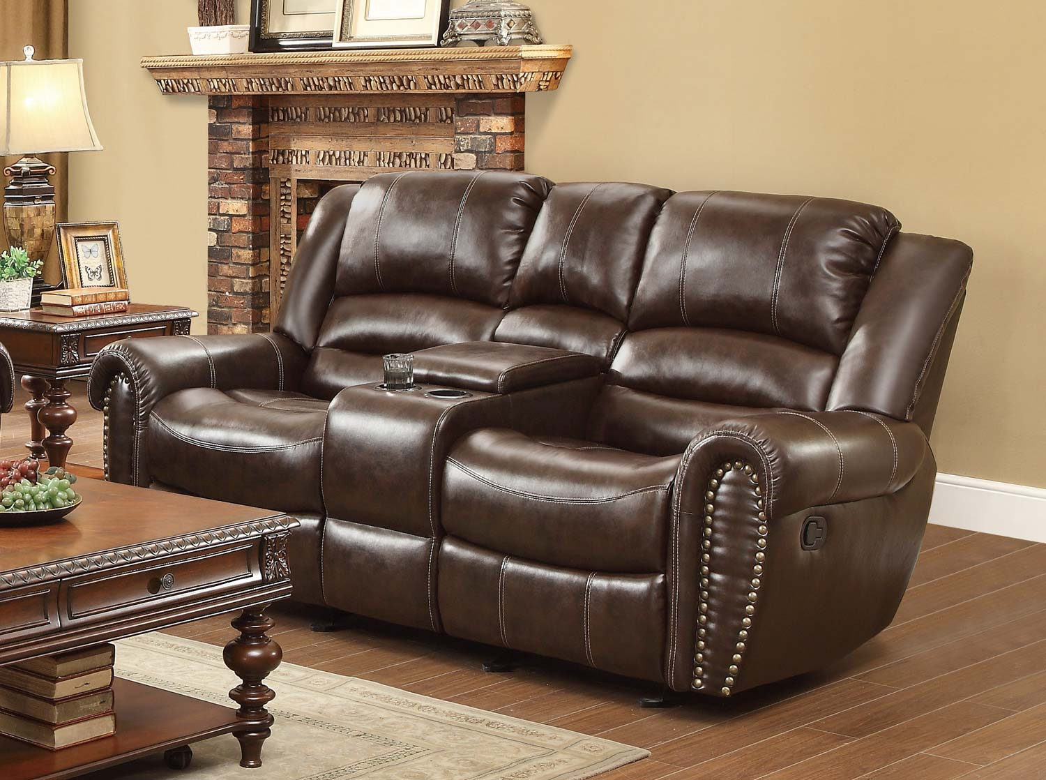 leather reclining loveseat with console homelegance 9668brw-2 traditional brown bonded leather dual reclining  loveseat DTZICPL