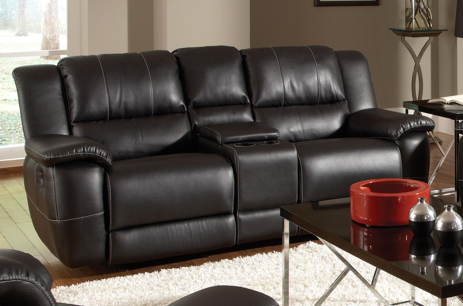 leather reclining loveseat with console made of leather in black SIBVSVL