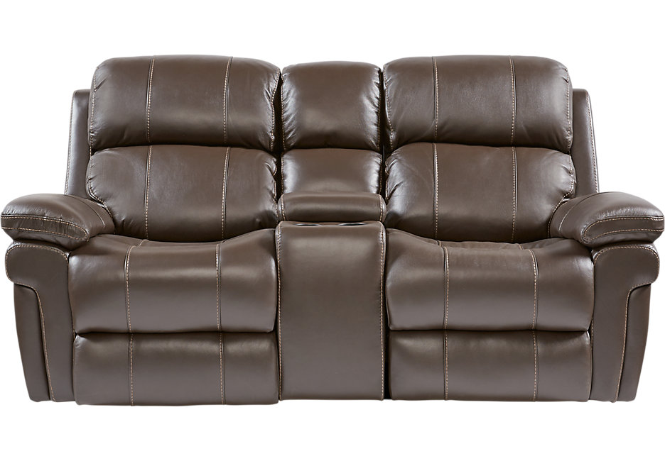 leather reclining loveseat with console trevino chocolate leather power reclining console loveseat - loveseats EHFTVJP