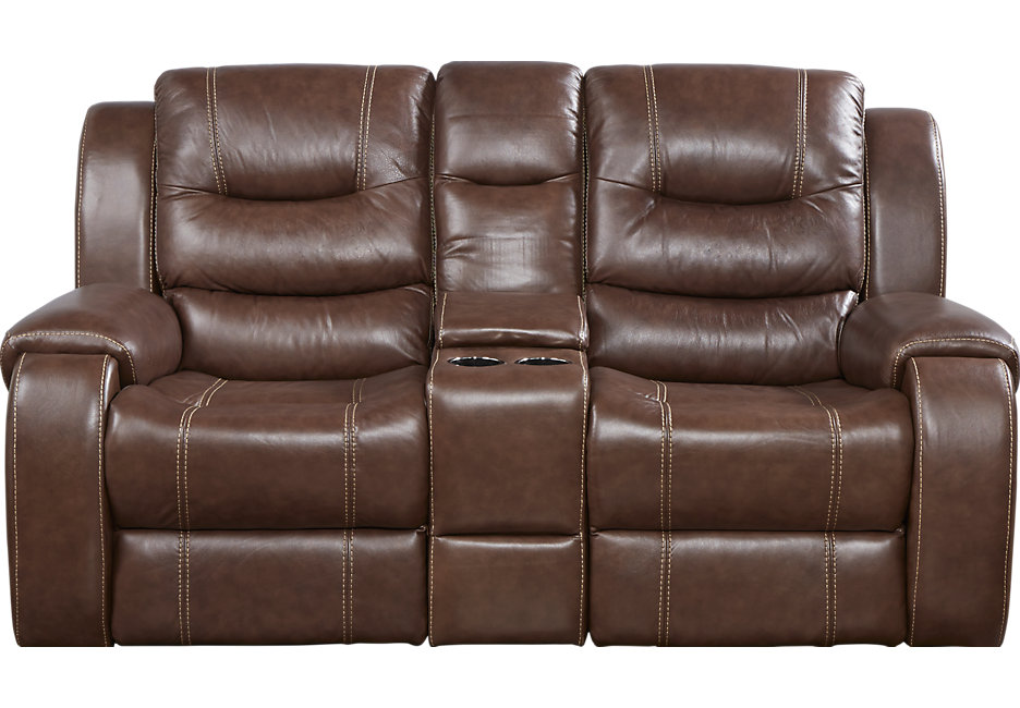 Best Buy Leather Reclining Loveseat with Console
