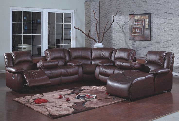 leather sectional sofa with chaise and recliner 4 pc brown bonded leather sectional sofa with recliners and BWNVSCZ