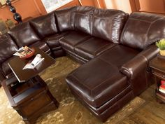 leather sectional sofa with chaise and recliner sherwood - genuine leather recliner sofa couch chaise sectional set IXPOABI