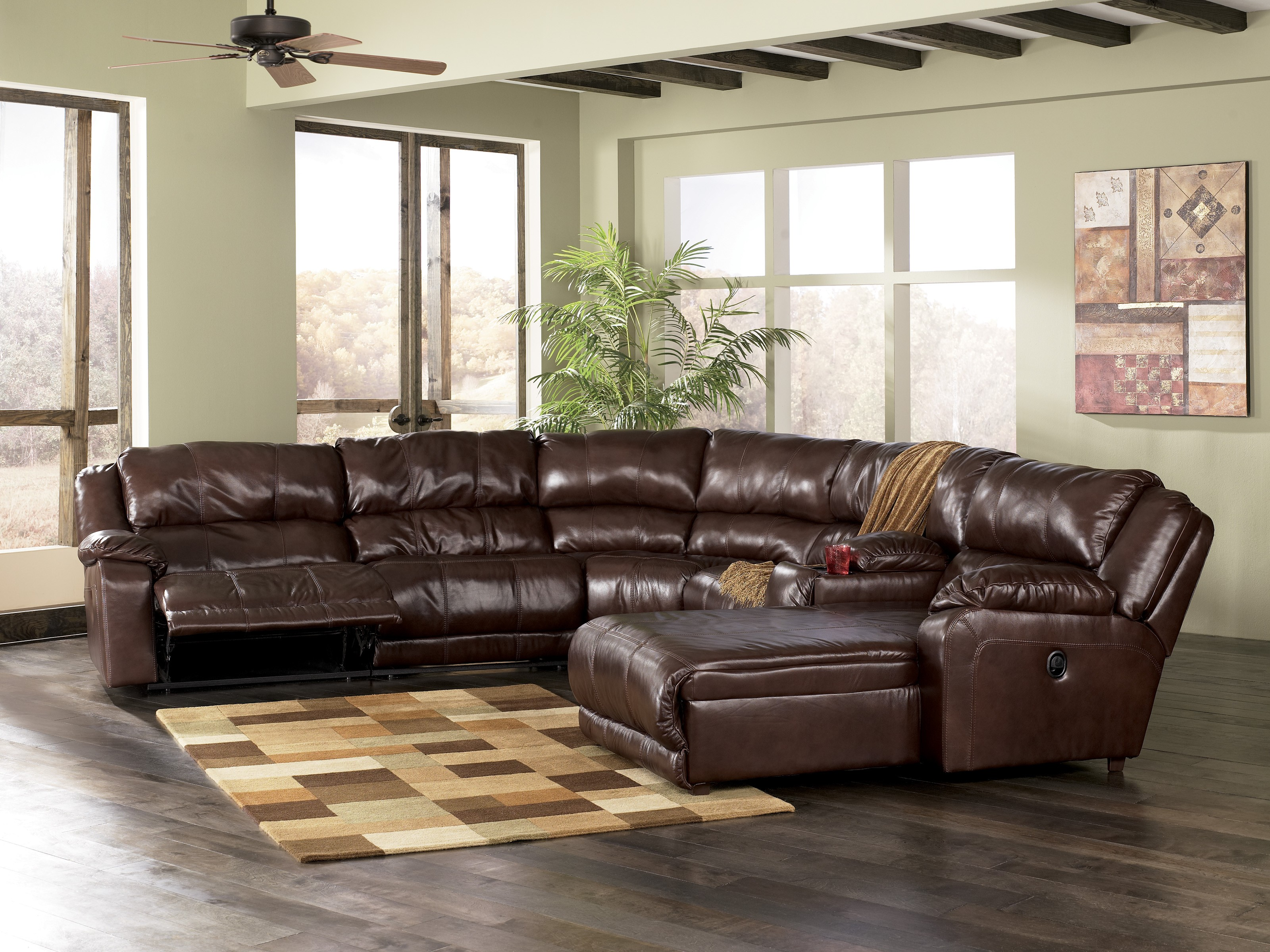 leather sectional sofa with chaise and recliner ... sleek leather sectional chaise with recliner in chocolate color LUVICFS