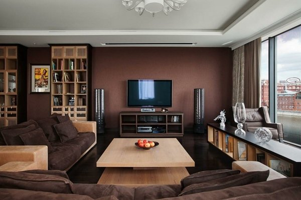 living room accent wall with brown furniture ... living room, modern living room design ideas in brown UQGLNGZ