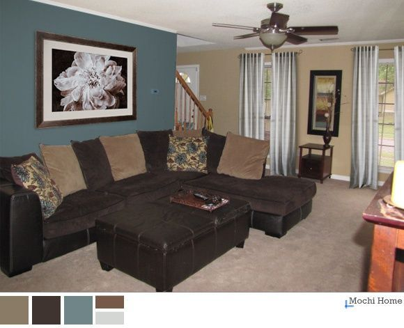 living room accent wall with brown furniture teal and brown living room | peacock teal, chocolate brown FDQIWLV