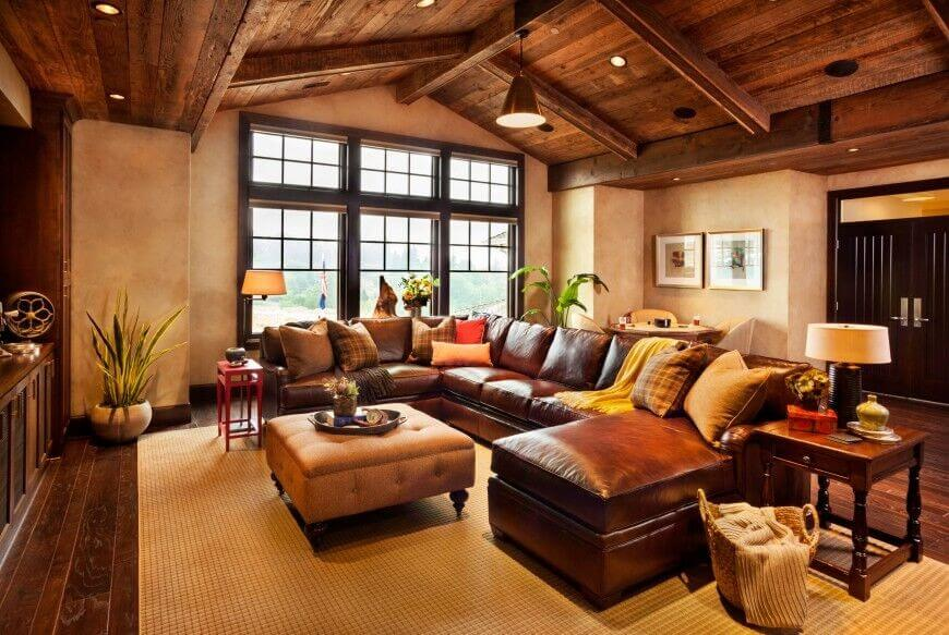 living room ideas with leather furniture when matched with an all-wood rustic arched ceiling, this leather MNCALWP
