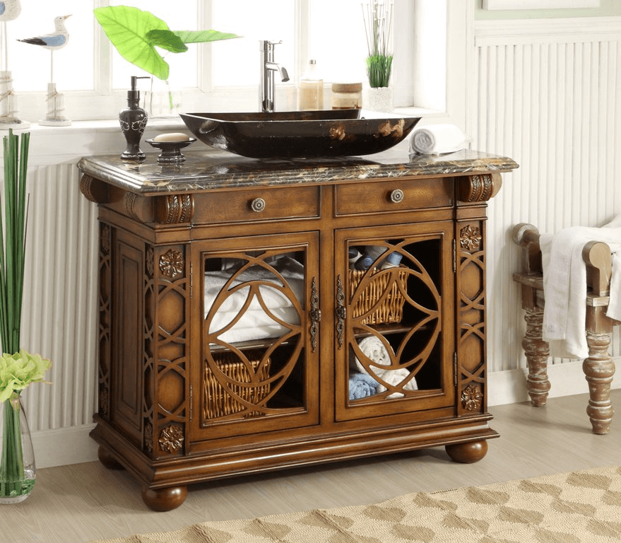 maintenance tips on antique bathroom vanity with vessel sink TCGXSLS