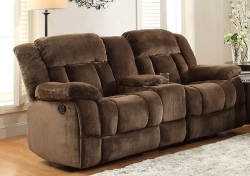 microfiber reclining loveseat with console homelegance laurelton doble glider reclining loveseat w/ center console in QYRINXA