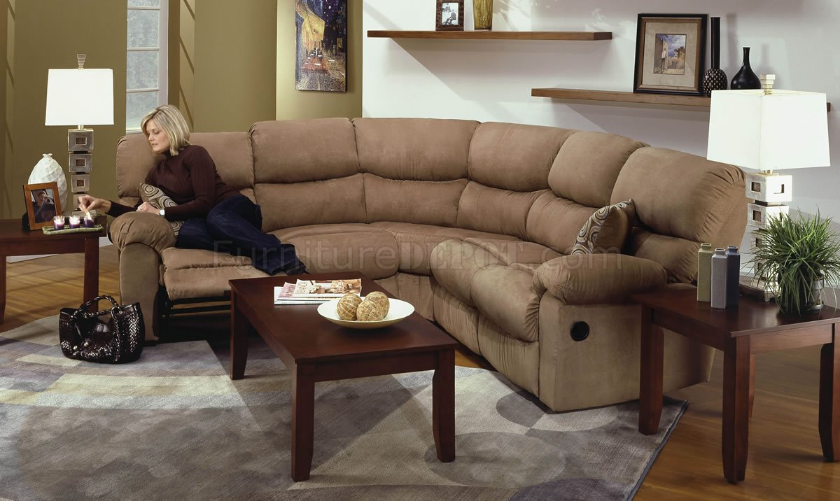microfiber sectional couch with recliner camel microfiber reclining sectional sofa w/throw pillows WTMAGVJ