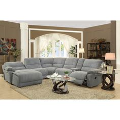 microfiber sectional couch with recliner coaster mackenzie silver reclining sectional sofa with casual style - LYPJSZT