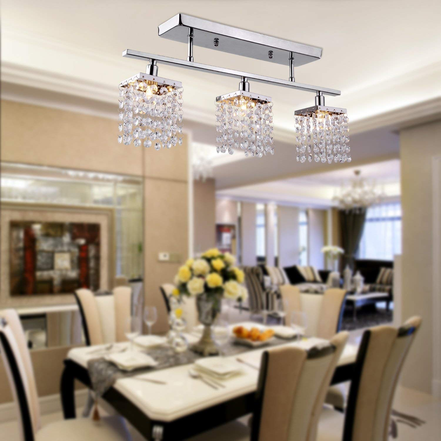 modern crystal chandeliers for dining room us stock, lightinthebox 3 light hanging crystal linear chandelier with THOICUA