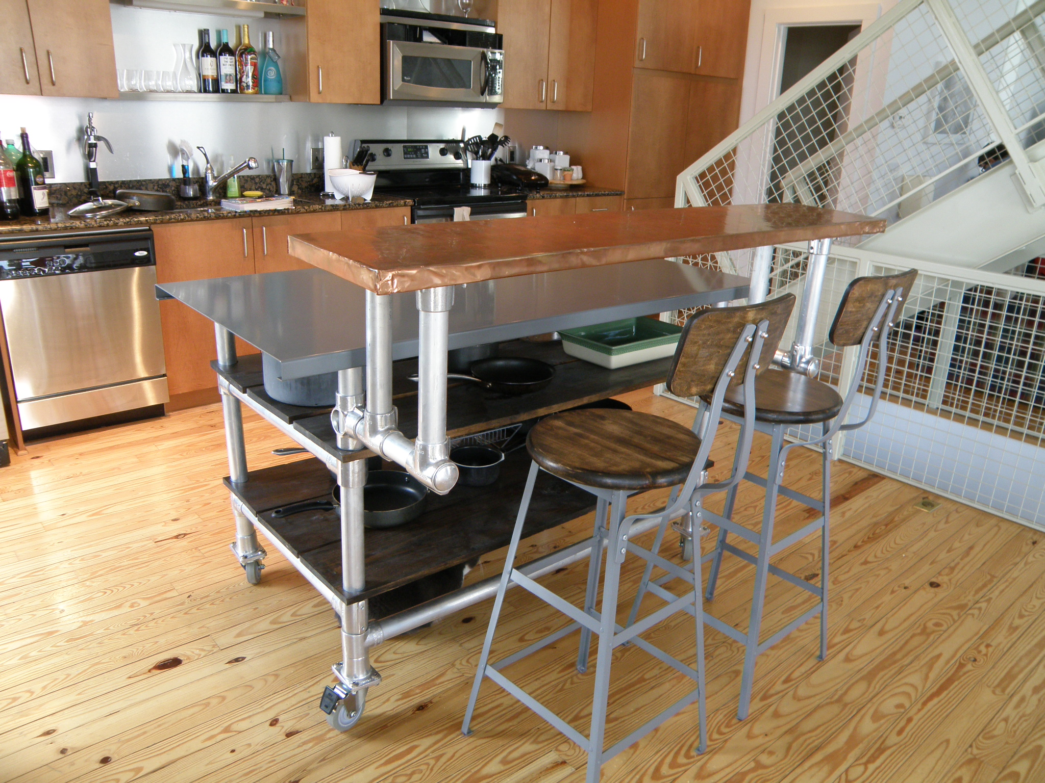 movable kitchen island with breakfast bar furniture industrial breakfast bar stools with copper countertop rolling HINUBBS