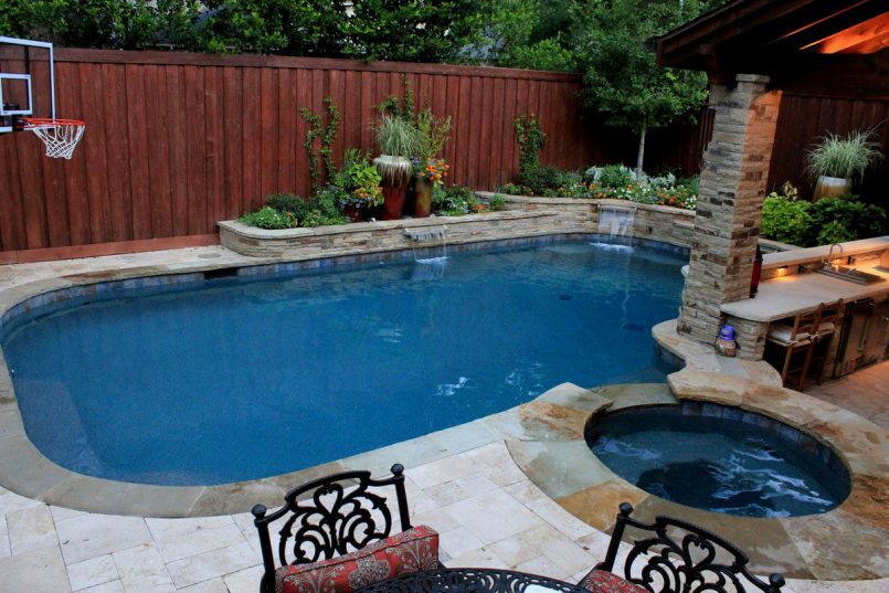 pool landscaping ideas for small backyards garden backyard with VLRQEXF