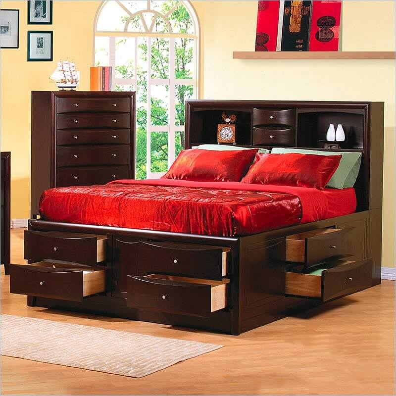 queen size bed frame with drawers underneath an elegant contemporary bed with clean lines and spacious storage. GQJWXAP
