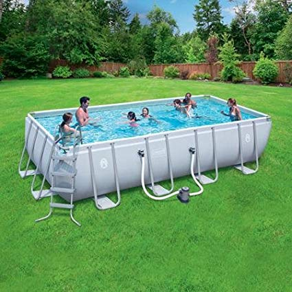rectangular above ground swimming pools coleman 18u0027 x 9u0027 x 48 power steel rectangular frame VMQLJJE
