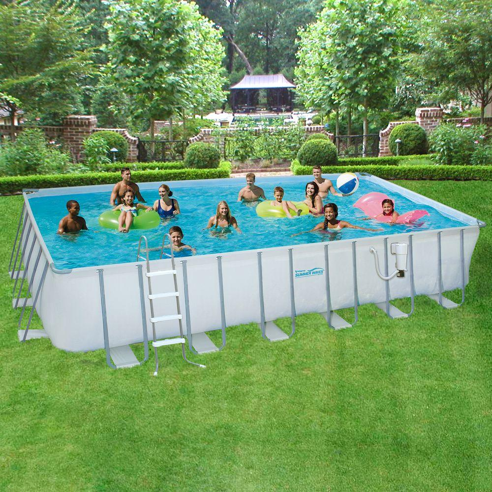 rectangular above ground swimming pools summer waves elite 12 ft. x 24 ft. rectangular 52 JYUHMCL