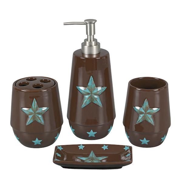 Rustic bathroom decor sets turquoise star bathroom set - 4pc TBECWRP