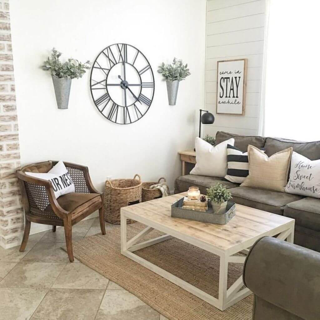 rustic wall decor ideas for living room oversized clock, wall vases, and u201cstayu201d sign FPLJXKK