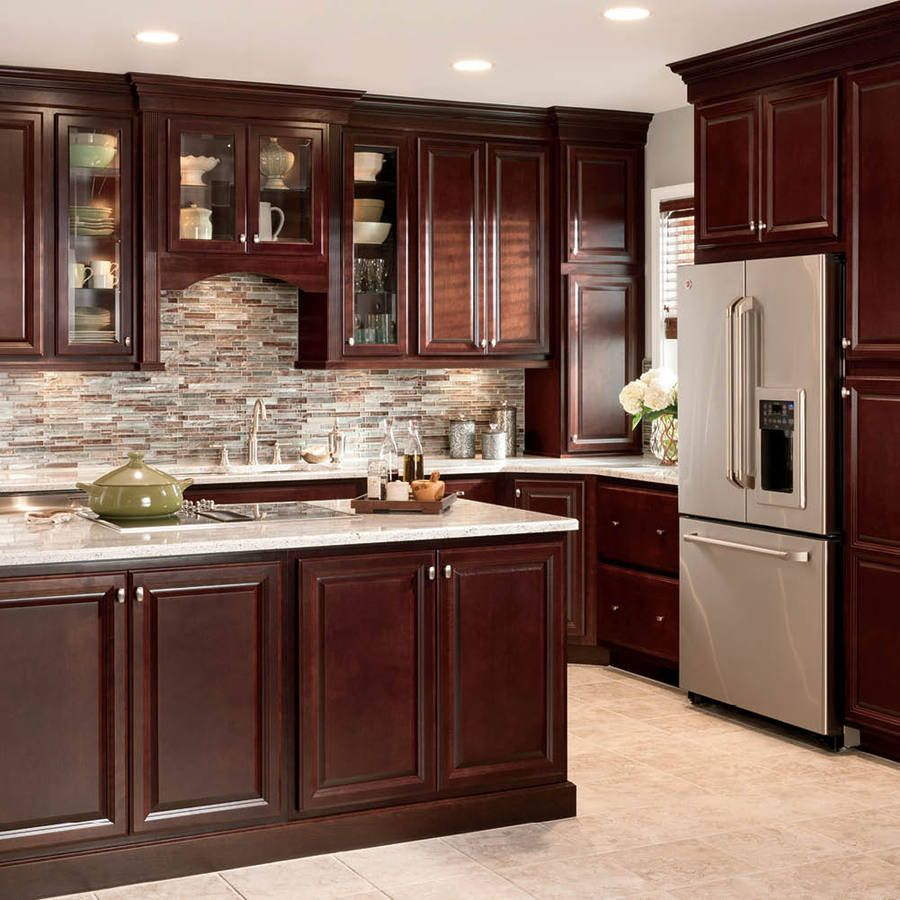 shop cherry kitchen cabinets with granite countertops AVPPHXM