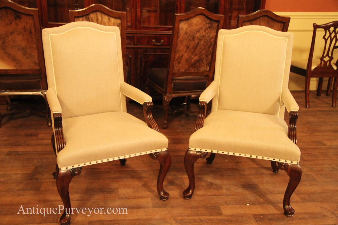 upholstered dining room chairs with arms front profile picture of linen upholstered arm chairs BMRQUEA