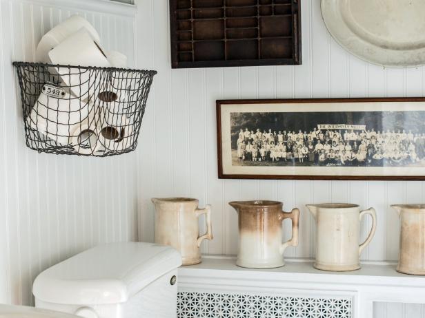 wall hanging baskets for bathroom storage easily boost bathroom storage with wall mounted baskets hgtv bathroom CYAJTQP