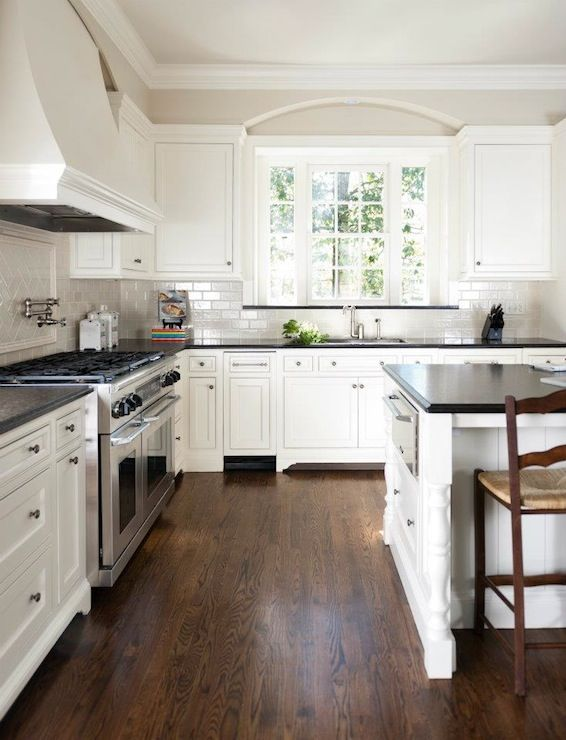 white kitchen cabinets with dark wood floors love the dark wood, white cabinets, and grey tile | SXQXBMA