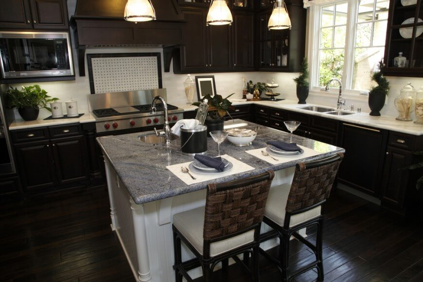 white kitchen cabinets with dark wood floors this kitchen features an almost black wooden flooring and cabinets. CAMRHIU