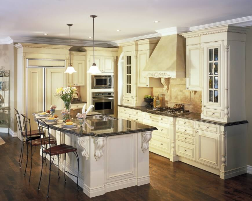 white kitchen cabinets with dark wood floors this kitchen is very elegant and gorgeous. the natural hardwood ATHRVGL
