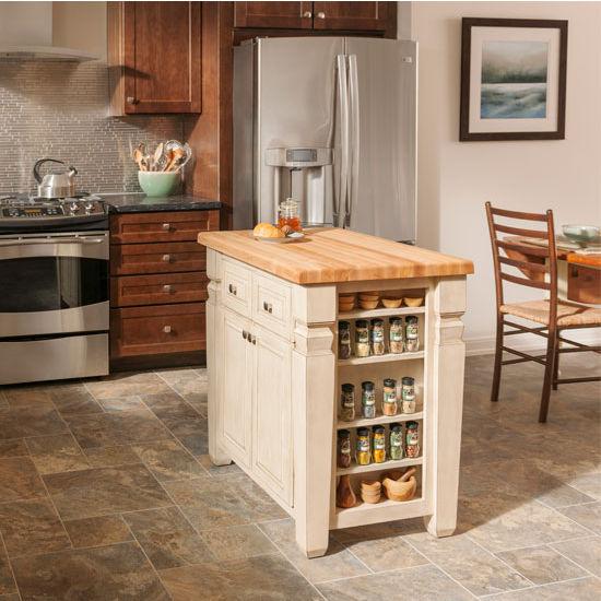 white kitchen island with butcher block top jeffrey alexander loft kitchen island with hard maple butcher block RMETEGL