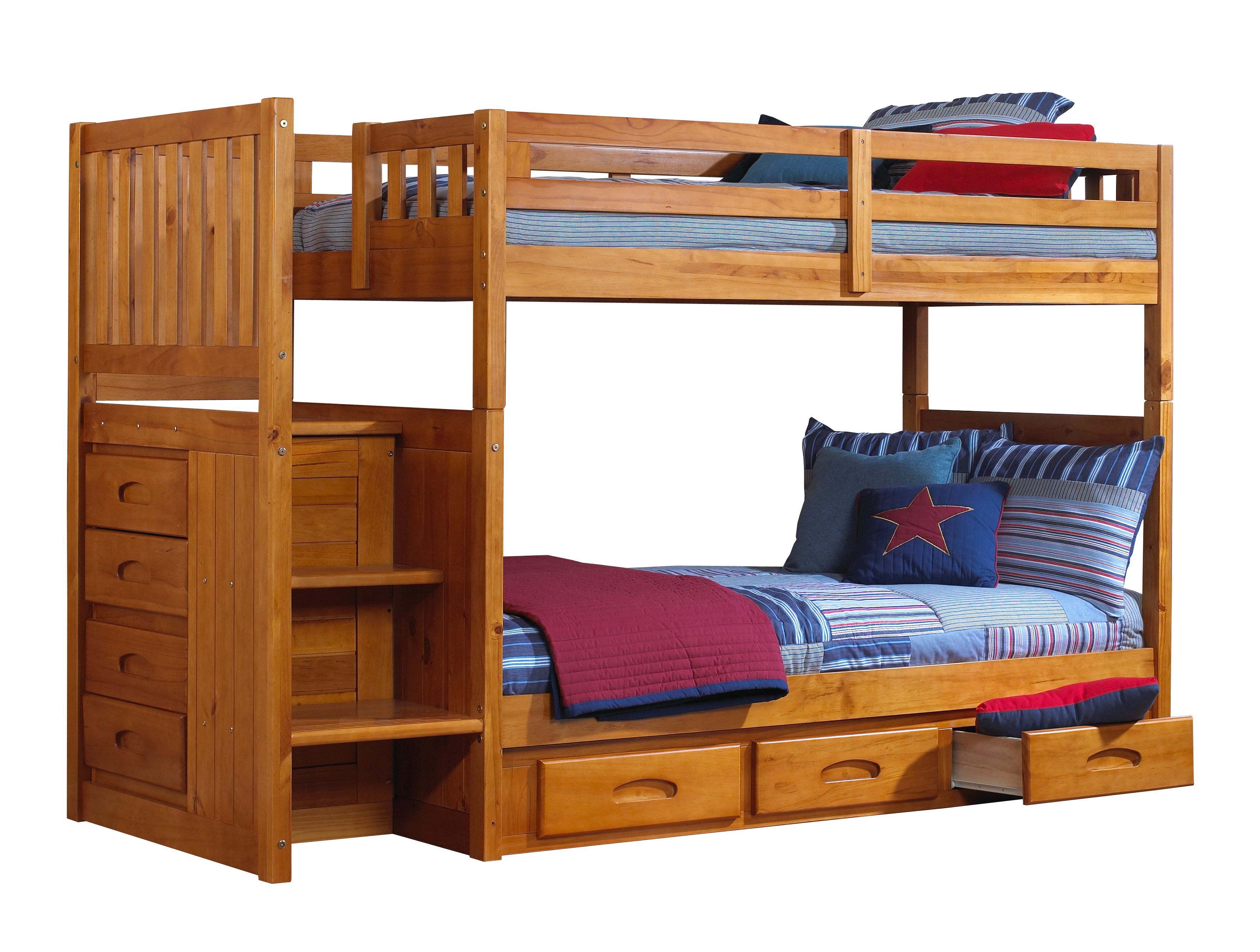 wooden bunk beds with stairs and drawers discovery world furniture twin over twin honey mission staircase bunk KOTEIXS