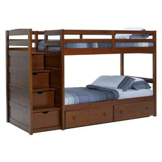 wooden bunk beds with stairs and drawers pine ridge front loading stair bunk bed - chocolate - RMLEQNH