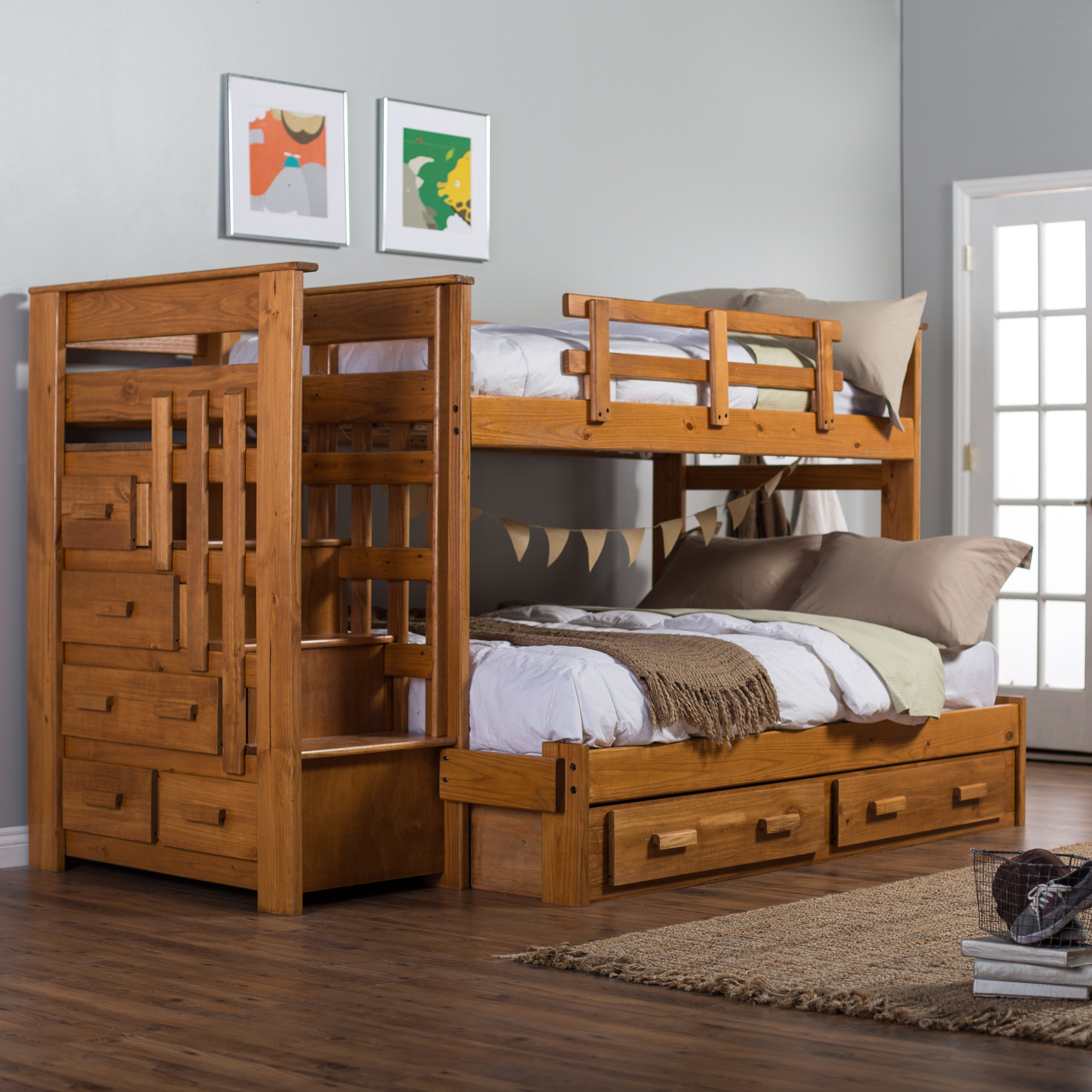 wooden bunk beds with stairs and drawers woodcrest heartland twin over full stairway bunk bed with optional XEUFTCP