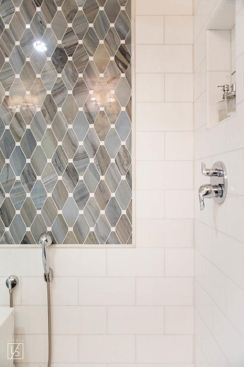 Gray Marble DIamond Pattern Shower Accent Tiles - Transitional