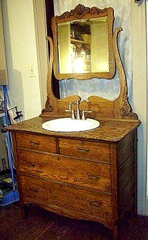 bathroom vanity made from antique furniture | Antique Bathroom