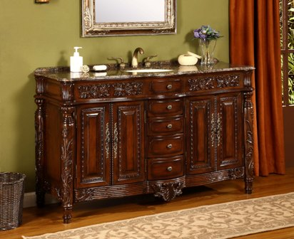 Avola 60 inch Antique Bathroom Vanities Solid Oak Wood