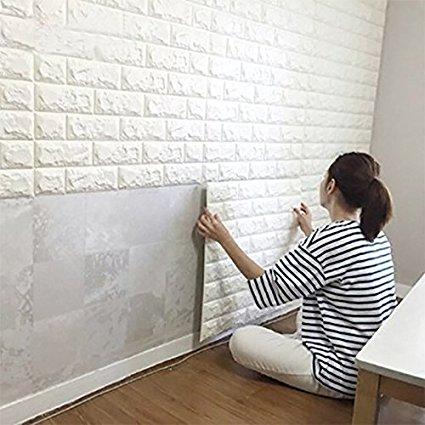Amazon.com: Wall Stickers 10PCS 3D Brick, PE Foam Self-Adhesive