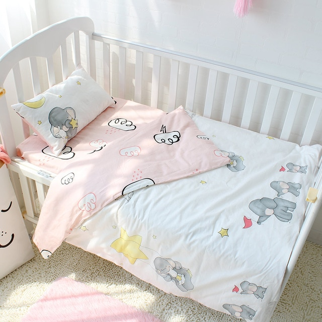 3pcs set Pure Cotton Baby Bedding Set Elephant Pattern Baby Bed