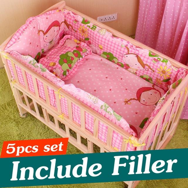 5PCS Newborn Baby Bedding Set Baby Crib Bedding Set With Bumper Baby