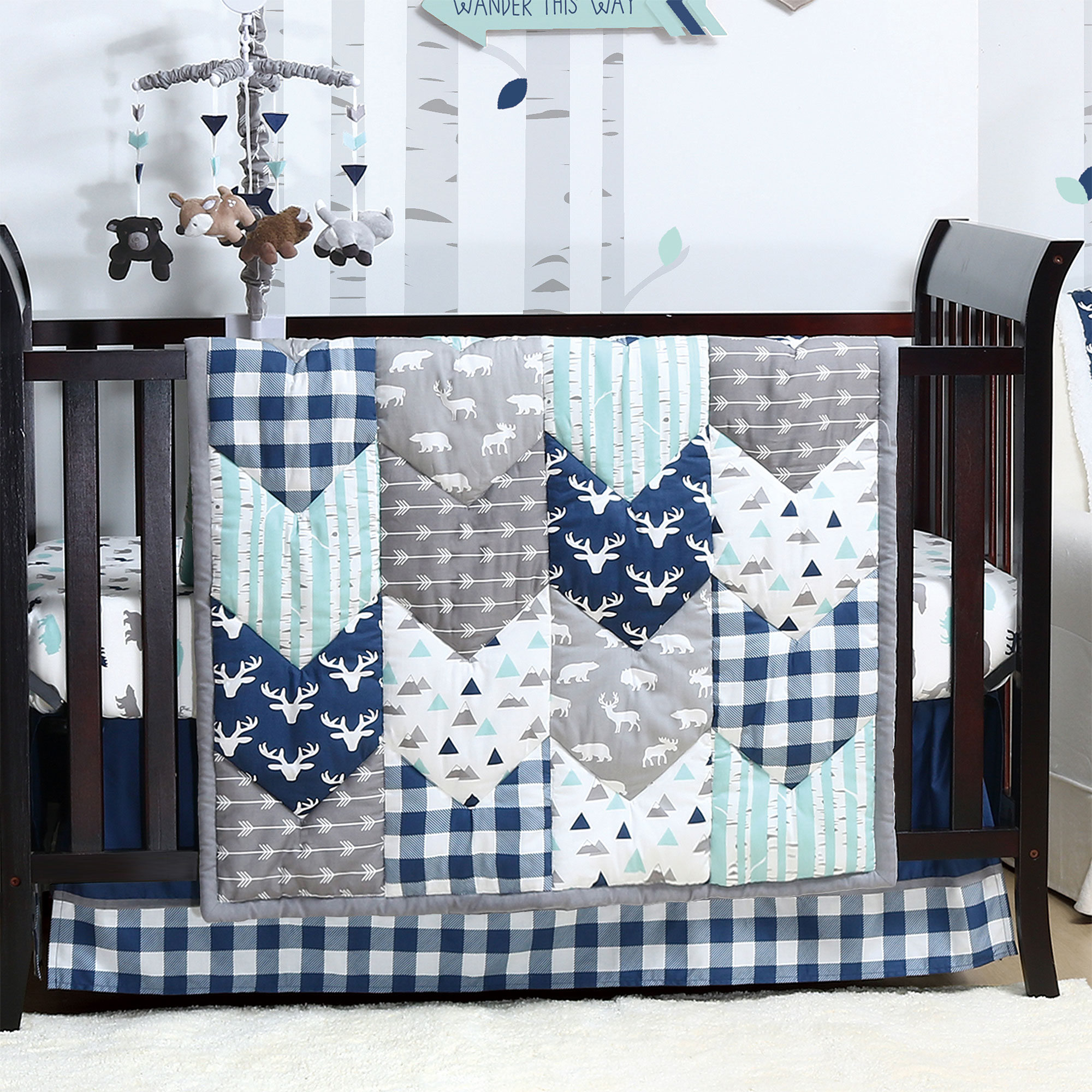 Woodland Trail 3 Piece Baby Boy Crib Bedding Set Patchwork Forest