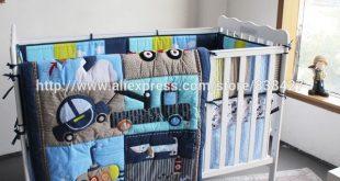Ups Free New baby 4 pcs set Dog Car Boy Baby Cot Crib Bedding Set
