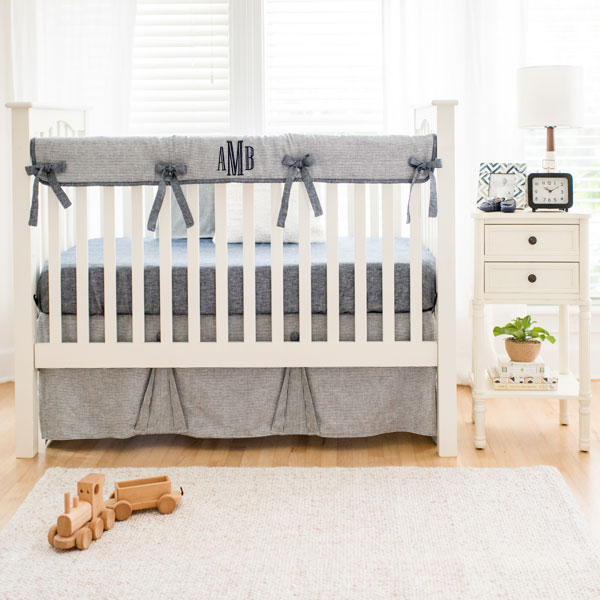 Navy Linen Crib Bedding | Boy Baby Bedding | Navy Crib Bedding
