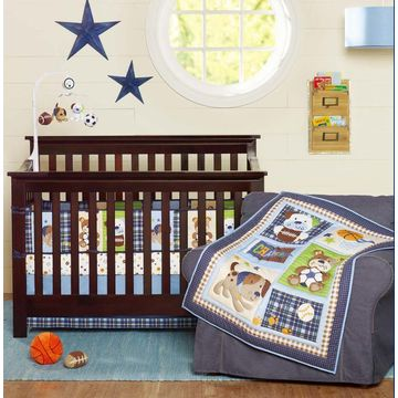 China Luxury quilted newborn baby boys' crib bedding set, dog and