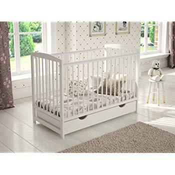 White Wooden Baby Cot with Drawer 120x60cm + Foam Mattress + Safety