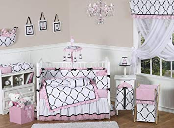 Amazon.com : Pink, Black and White Princess Baby Girl Bedding 9pc
